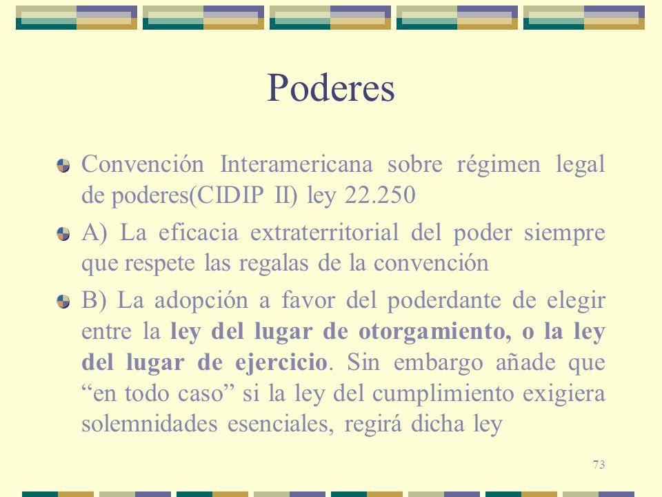 Poderes Convención Interamericana sobre régimen legal de poderes(CIDIP II) ley 22.250.