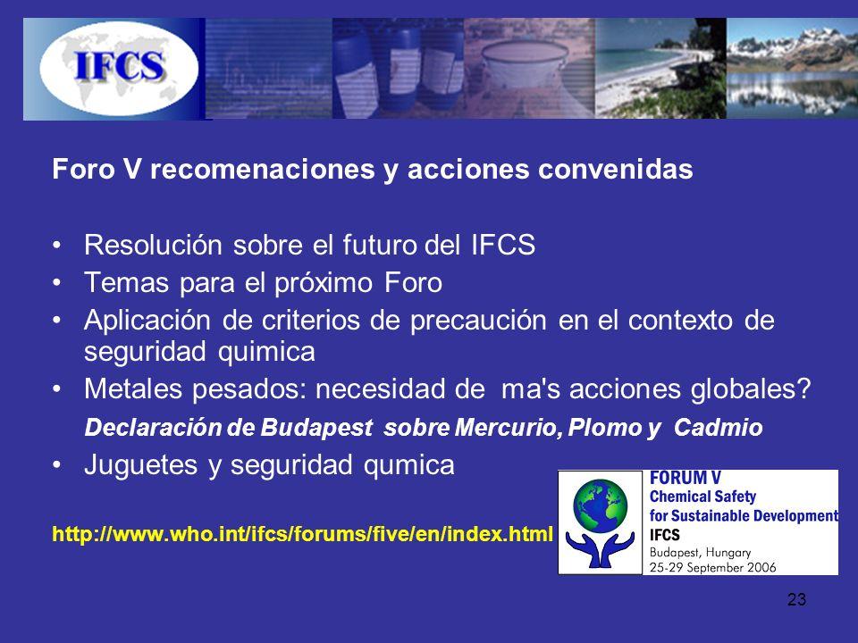 Foro V recomenaciones y acciones convenidas