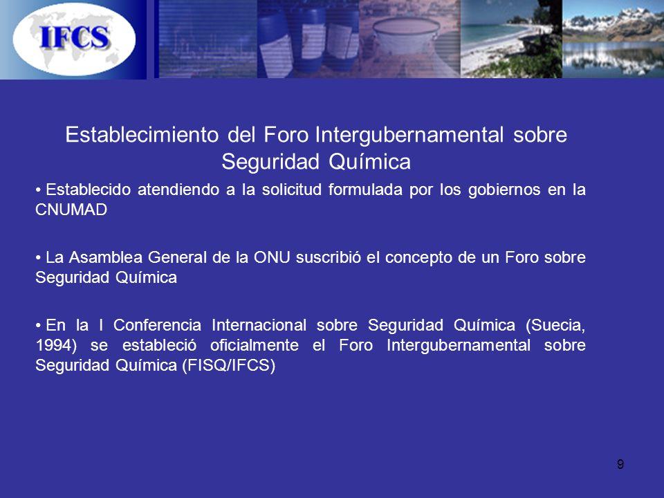 Establecimiento del Foro Intergubernamental sobre Seguridad Química