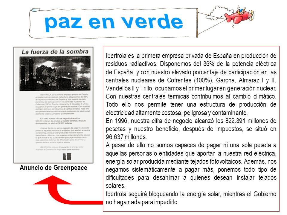 paz en verde Anuncio de Greenpeace