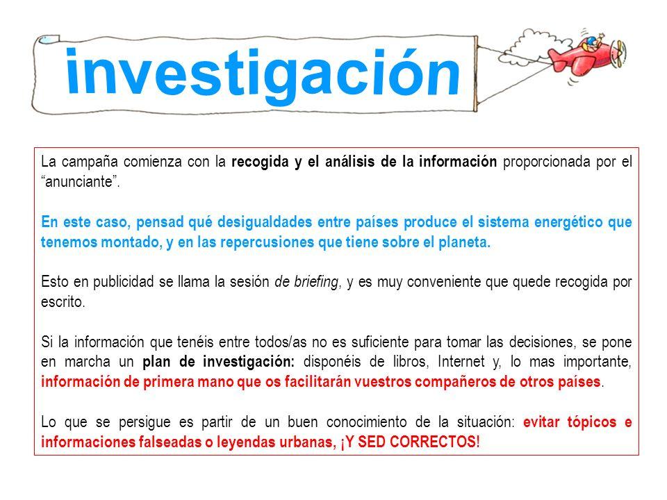 investigaciónLa campaña comienza con la recogida y el análisis de la información proporcionada por el anunciante .