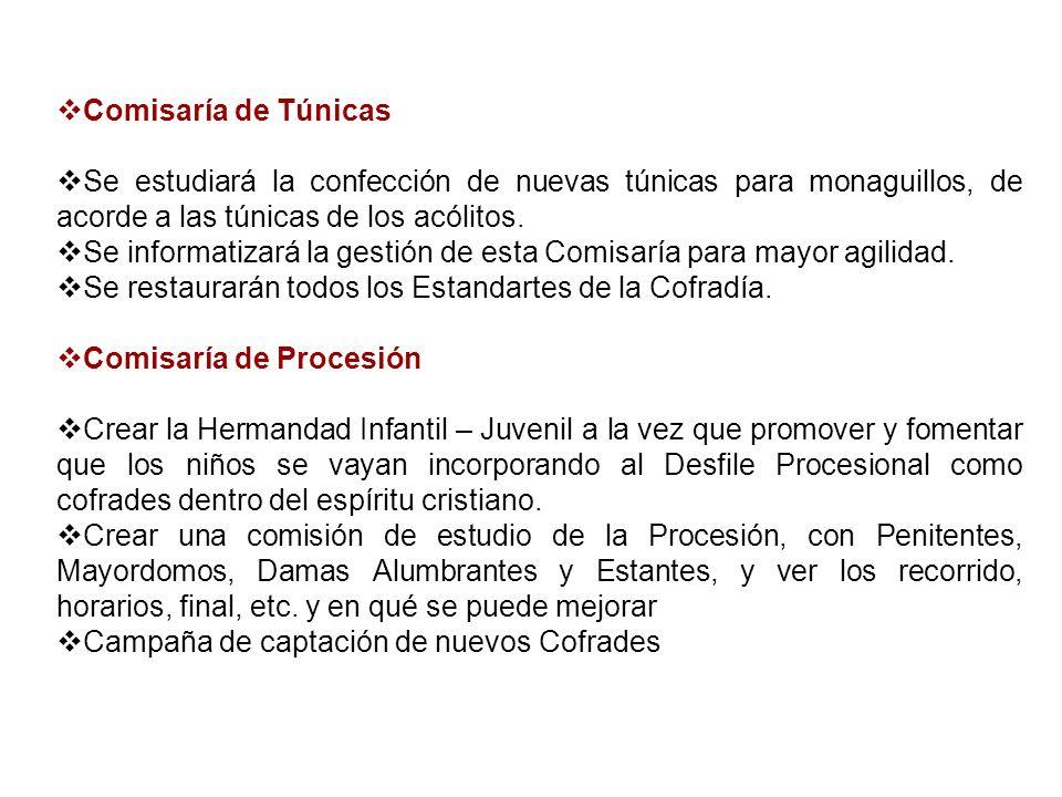 Comisaría de TúnicasSe estudiará la confección de nuevas túnicas para monaguillos, de acorde a las túnicas de los acólitos.