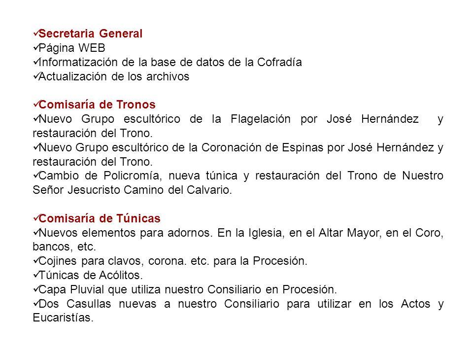 Secretaria GeneralPágina WEB. Informatización de la base de datos de la Cofradía. Actualización de los archivos.