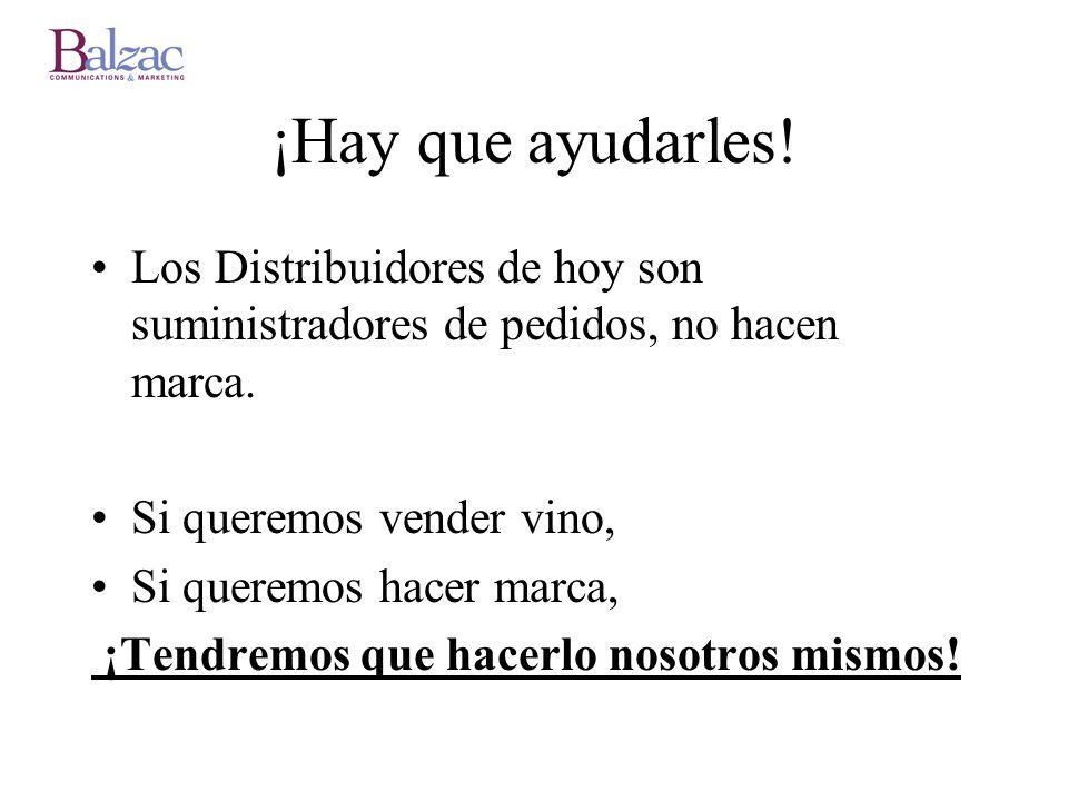 ¡Hay que ayudarles! Los Distribuidores de hoy son suministradores de pedidos, no hacen marca. Si queremos vender vino,