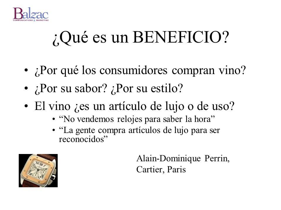 ¿Qué es un BENEFICIO ¿Por qué los consumidores compran vino