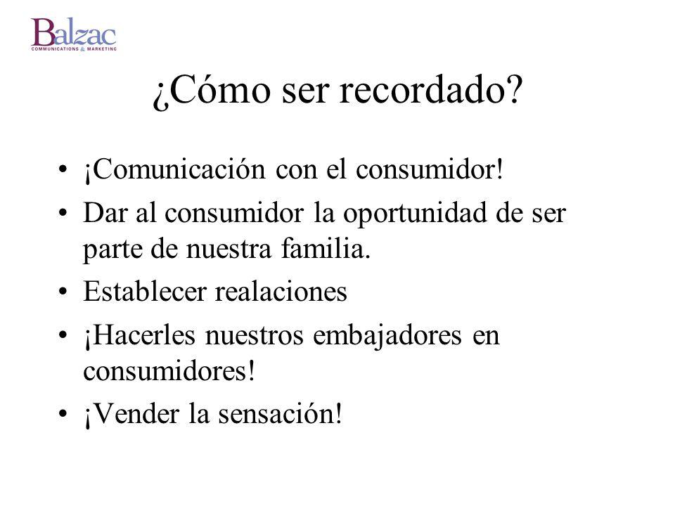 ¿Cómo ser recordado ¡Comunicación con el consumidor!