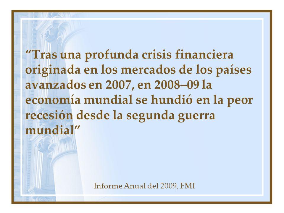 Tras una profunda crisis financiera originada en los mercados de los países avanzados en 2007, en 2008–09 la economía mundial se hundió en la peor recesión desde la segunda guerra mundial