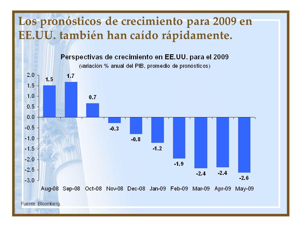 Los pronósticos de crecimiento para 2009 en EE. UU