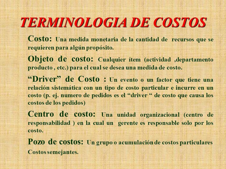 TERMINOLOGIA DE COSTOS