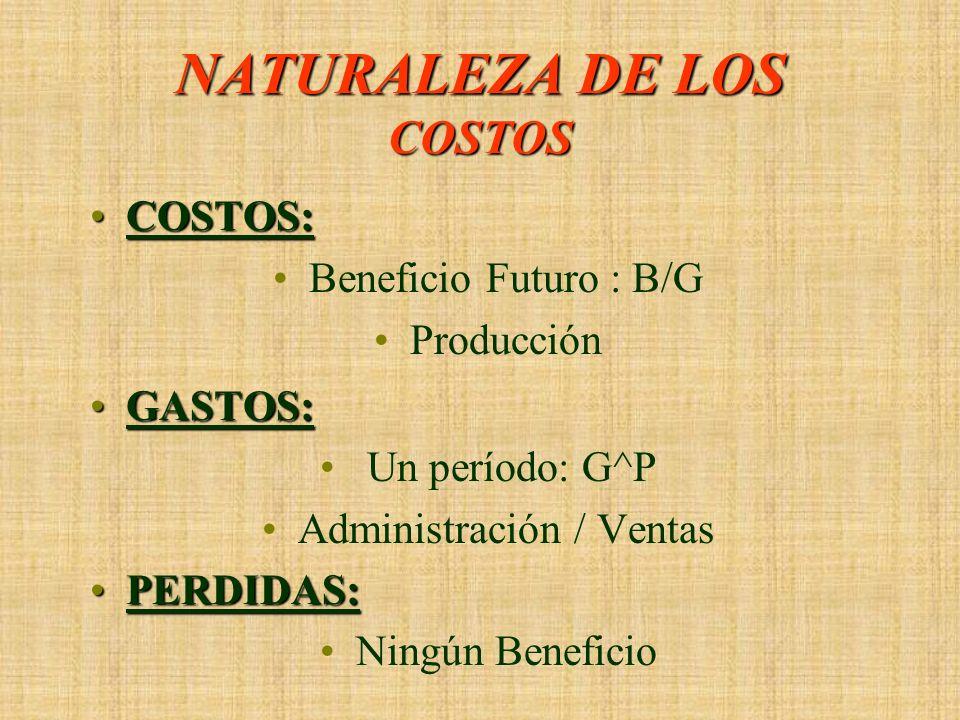 NATURALEZA DE LOS COSTOS