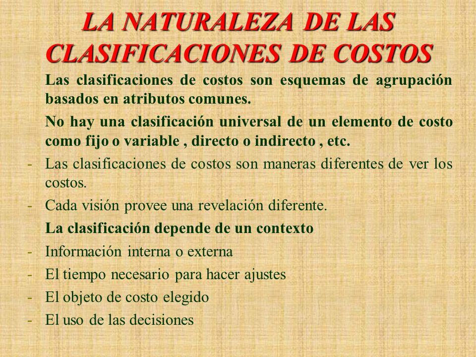 LA NATURALEZA DE LAS CLASIFICACIONES DE COSTOS
