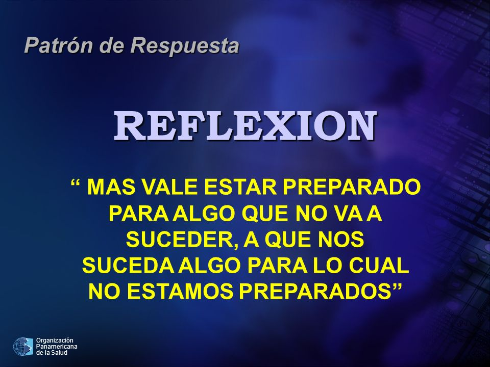 REFLEXION Patrón de Respuesta MAS VALE ESTAR PREPARADO