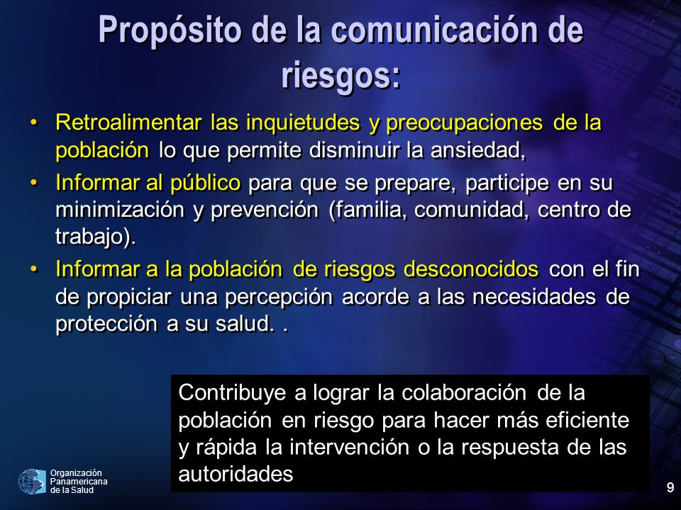 Propósito de la comunicación de riesgos: