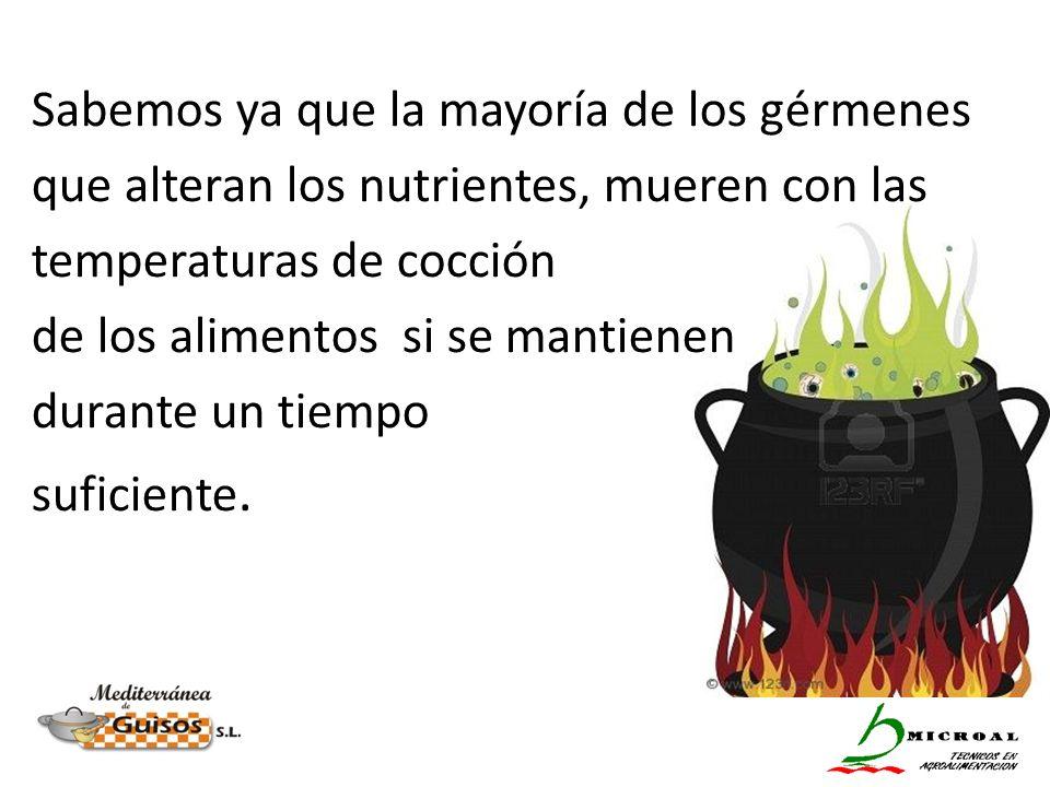 Sabemos ya que la mayoría de los gérmenes que alteran los nutrientes, mueren con las temperaturas de cocción de los alimentos si se mantienen durante un tiempo suficiente.