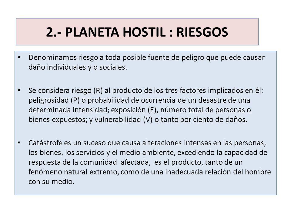 2.- PLANETA HOSTIL : RIESGOS