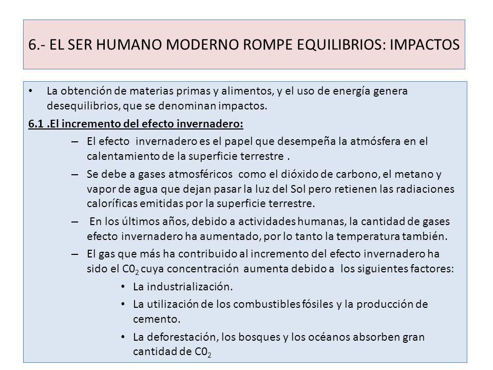 6.- EL SER HUMANO MODERNO ROMPE EQUILIBRIOS: IMPACTOS