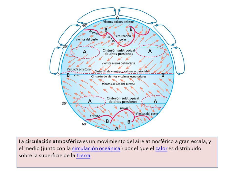 La circulación atmosférica es un movimiento del aire atmosférico a gran escala, y el medio (junto con la circulación oceánica ) por el que el calor es distribuido sobre la superficie de la Tierra