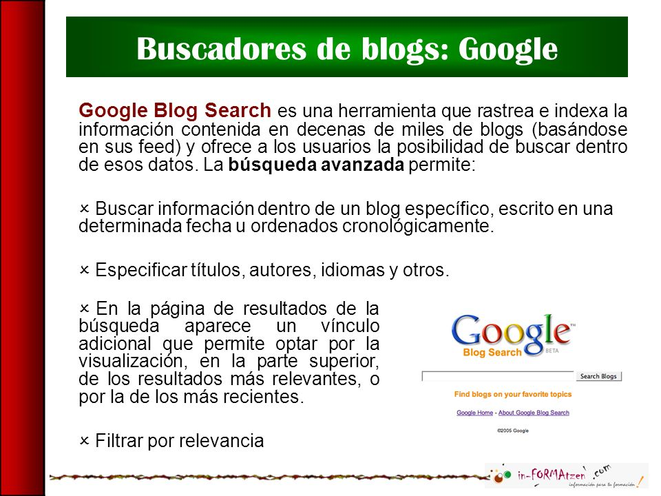Buscadores de blogs: Google