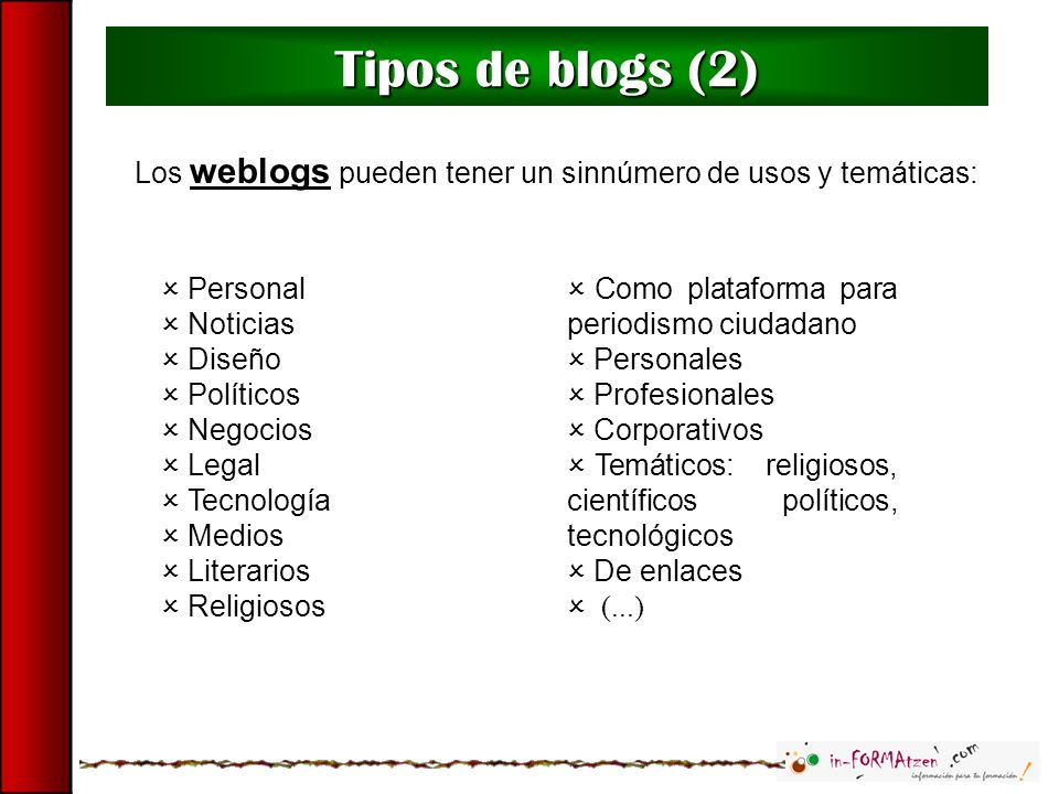Tipos de blogs (2) Los weblogs pueden tener un sinnúmero de usos y temáticas: Personal. Noticias.