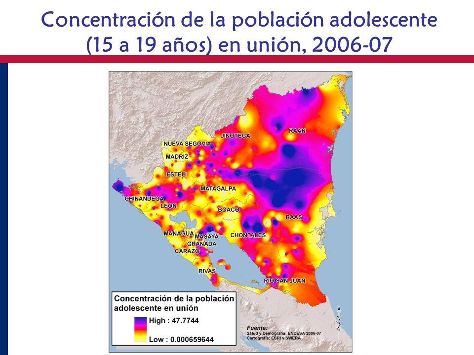 Concentración de la población adolescente (15 a 19 años) en unión, 2006-07