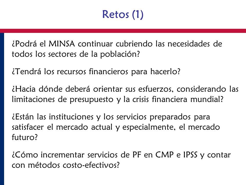 Retos (1) ¿Podrá el MINSA continuar cubriendo las necesidades de todos los sectores de la población
