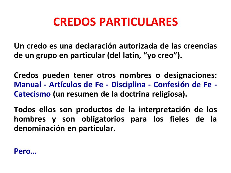 CREDOS PARTICULARES