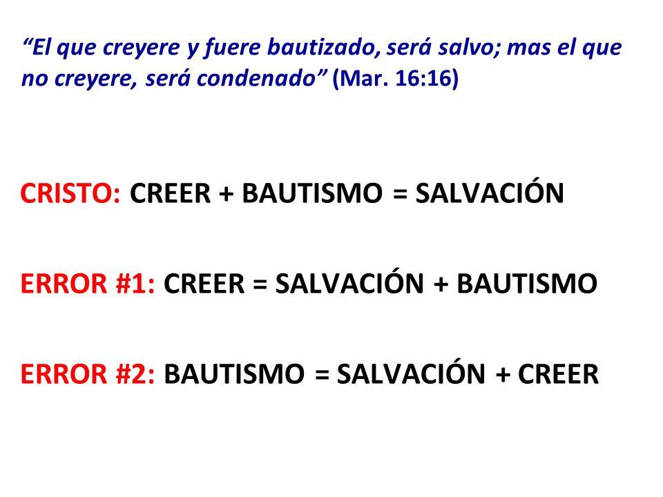 El que creyere y fuere bautizado, será salvo; mas el que no creyere, será condenado (Mar. 16:16)