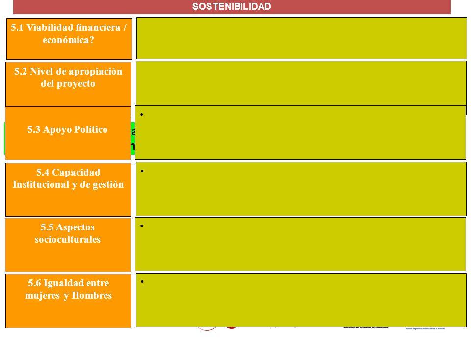 SOSTENIBILIDAD 5.1 Viabilidad financiera / económica 5.2 Nivel de apropiación del proyecto. 5.3 Apoyo Político.