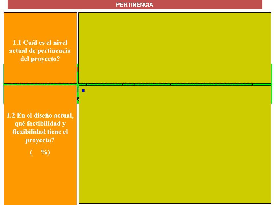 1.1 Cuál es el nivel actual de pertinencia del proyecto