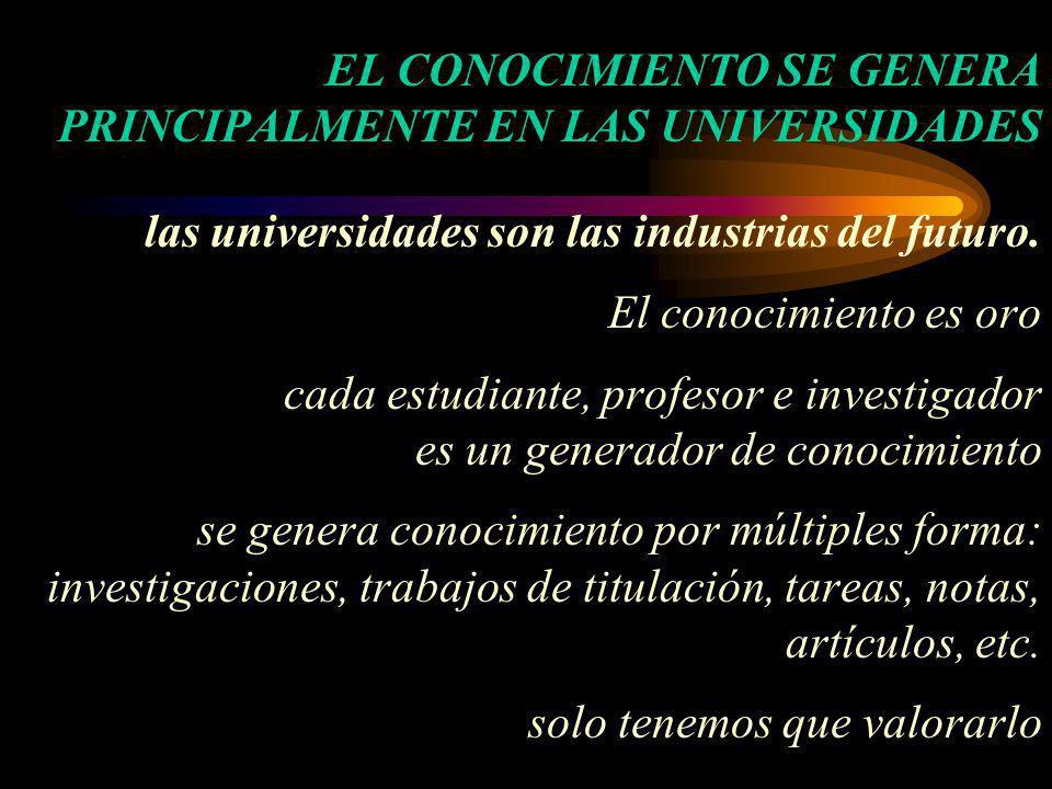 EL CONOCIMIENTO SE GENERA PRINCIPALMENTE EN LAS UNIVERSIDADES las universidades son las industrias del futuro.
