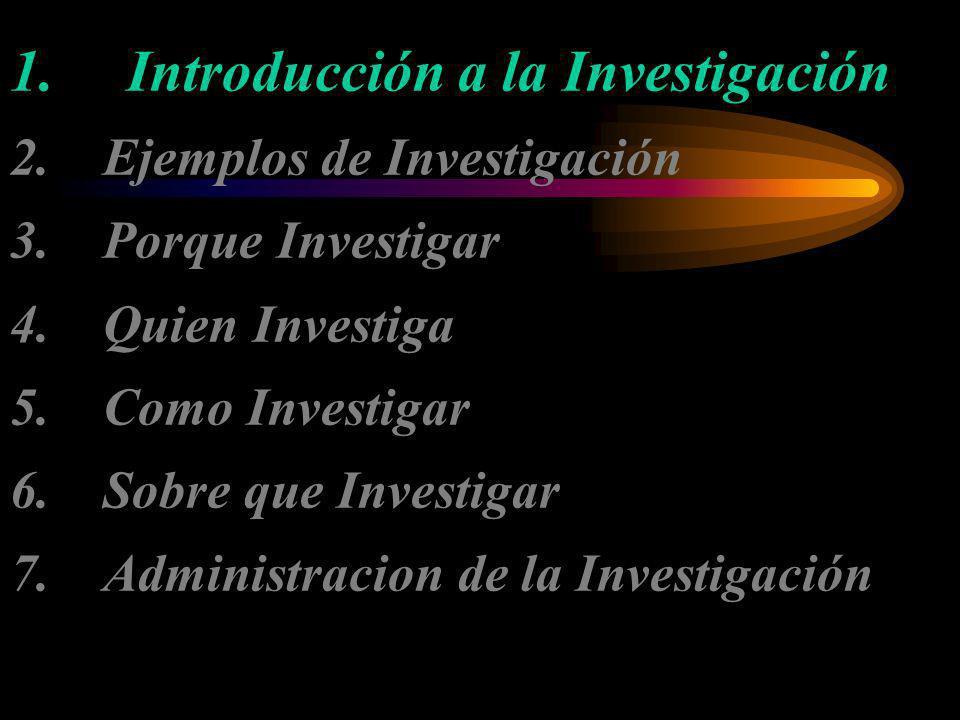 1. Introducción a la Investigación 2. Ejemplos de Investigación 3