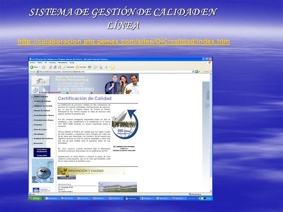SISTEMA DE GESTIÓN DE CALIDAD EN LÍNEA