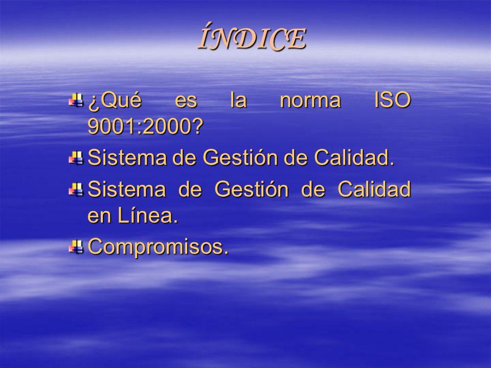 ÍNDICE ¿Qué es la norma ISO 9001:2000 Sistema de Gestión de Calidad.