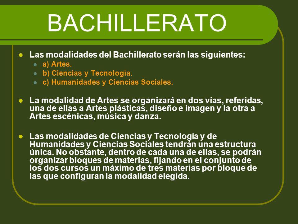 BACHILLERATO Las modalidades del Bachillerato serán las siguientes: