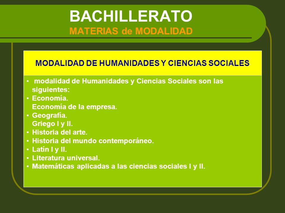 BACHILLERATO MATERIAS de MODALIDAD