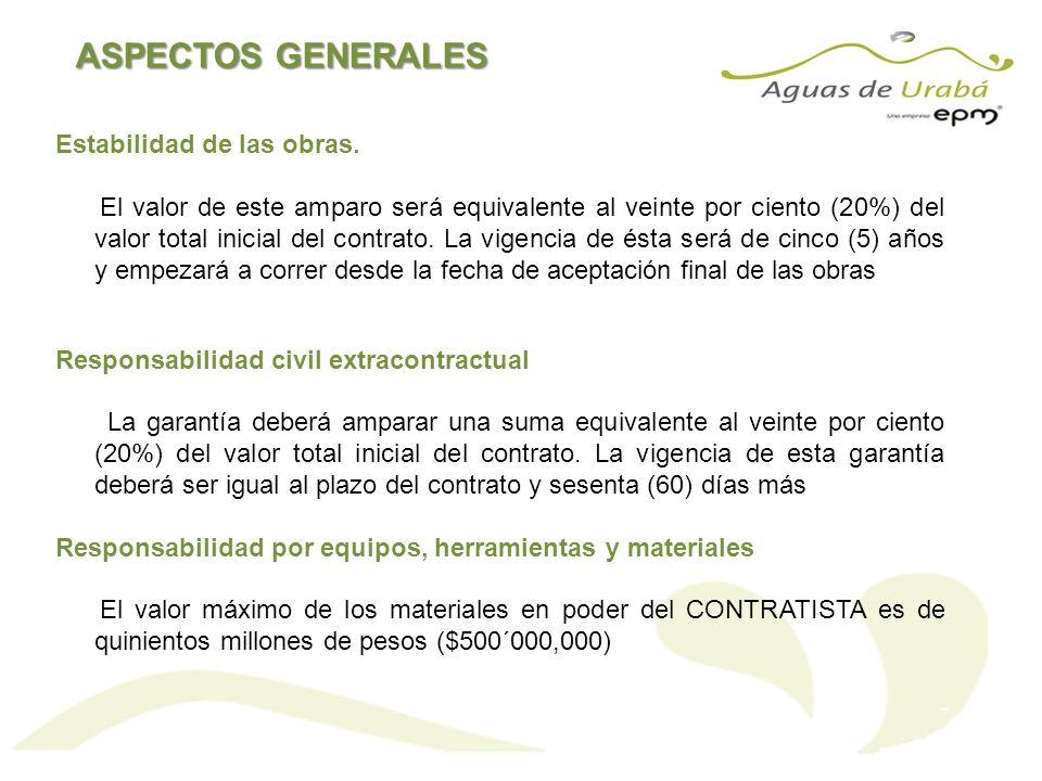 ASPECTOS GENERALES Estabilidad de las obras.