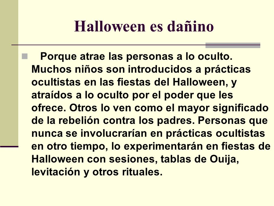 Halloween es dañino