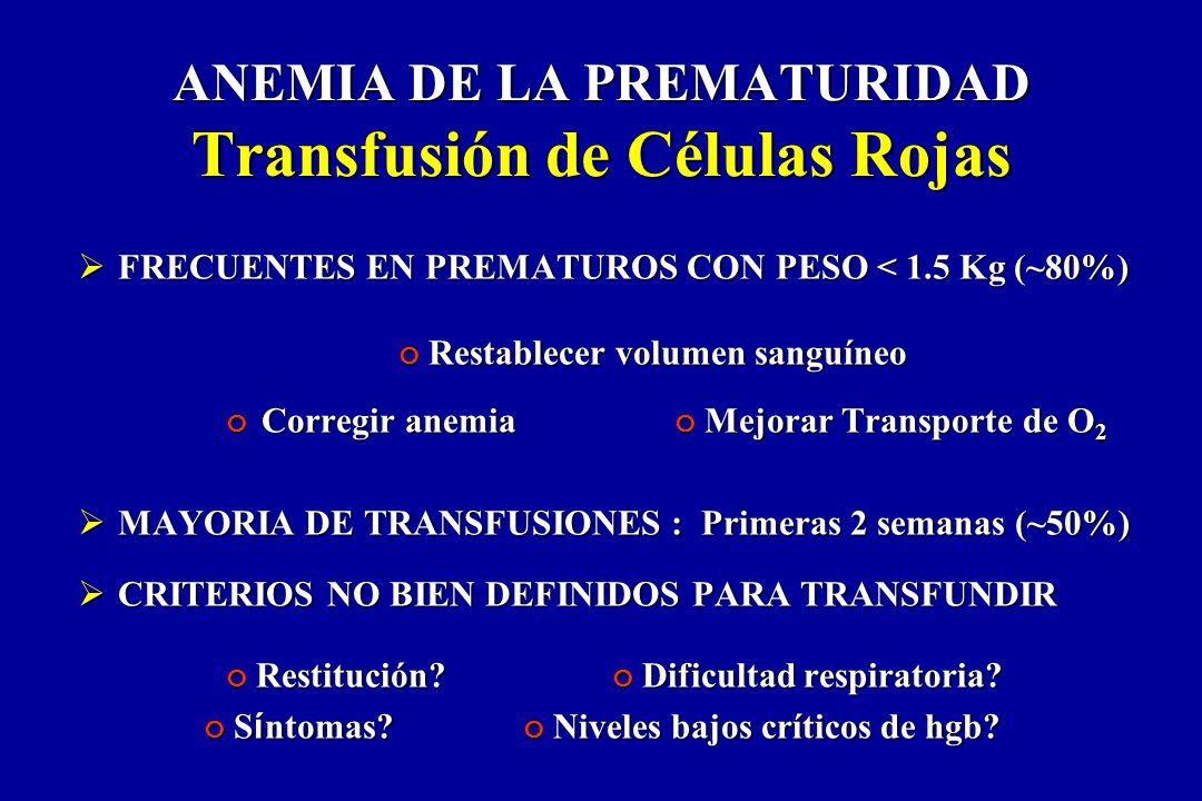 ANEMIA DE LA PREMATURIDAD Transfusión de Células Rojas