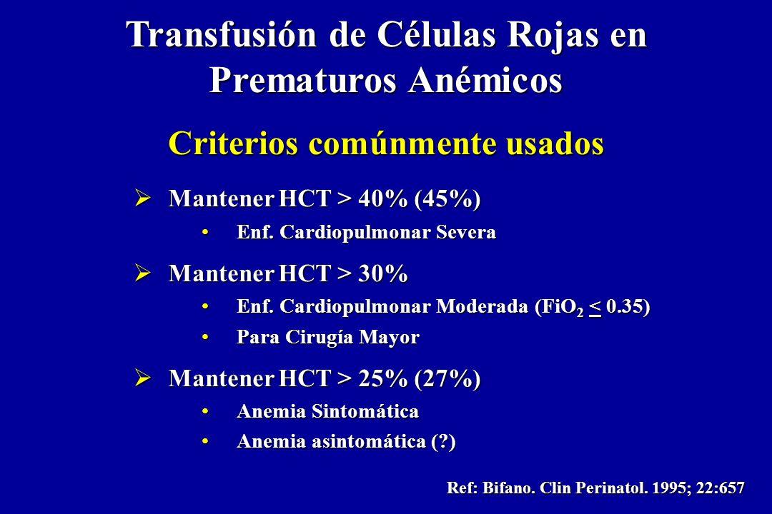Transfusión de Células Rojas en Prematuros Anémicos