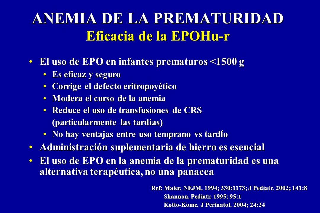 ANEMIA DE LA PREMATURIDAD Eficacia de la EPOHu-r