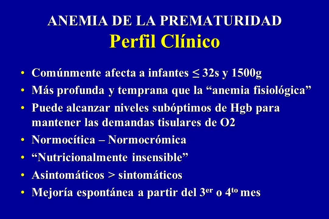 ANEMIA DE LA PREMATURIDAD Perfil Clínico