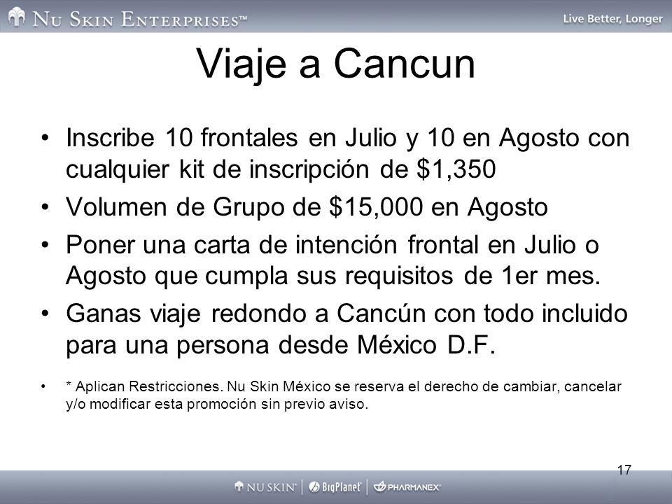 Viaje a Cancun Inscribe 10 frontales en Julio y 10 en Agosto con cualquier kit de inscripción de $1,350.