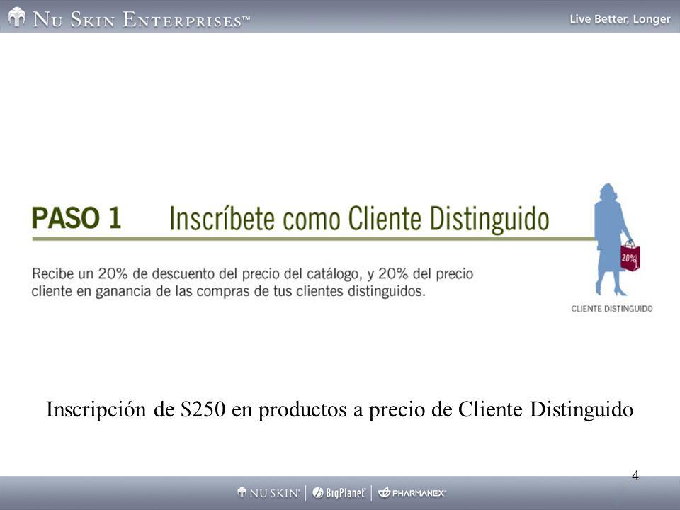 Inscripción de $250 en productos a precio de Cliente Distinguido