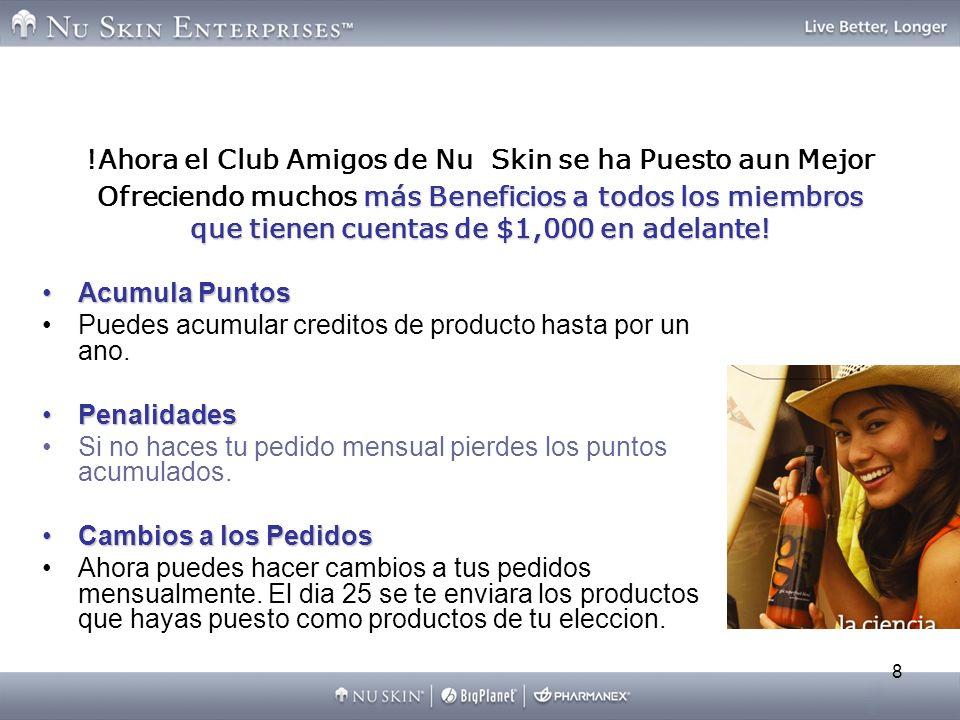 !Ahora el Club Amigos de Nu Skin se ha Puesto aun Mejor Ofreciendo muchos más Beneficios a todos los miembros que tienen cuentas de $1,000 en adelante!