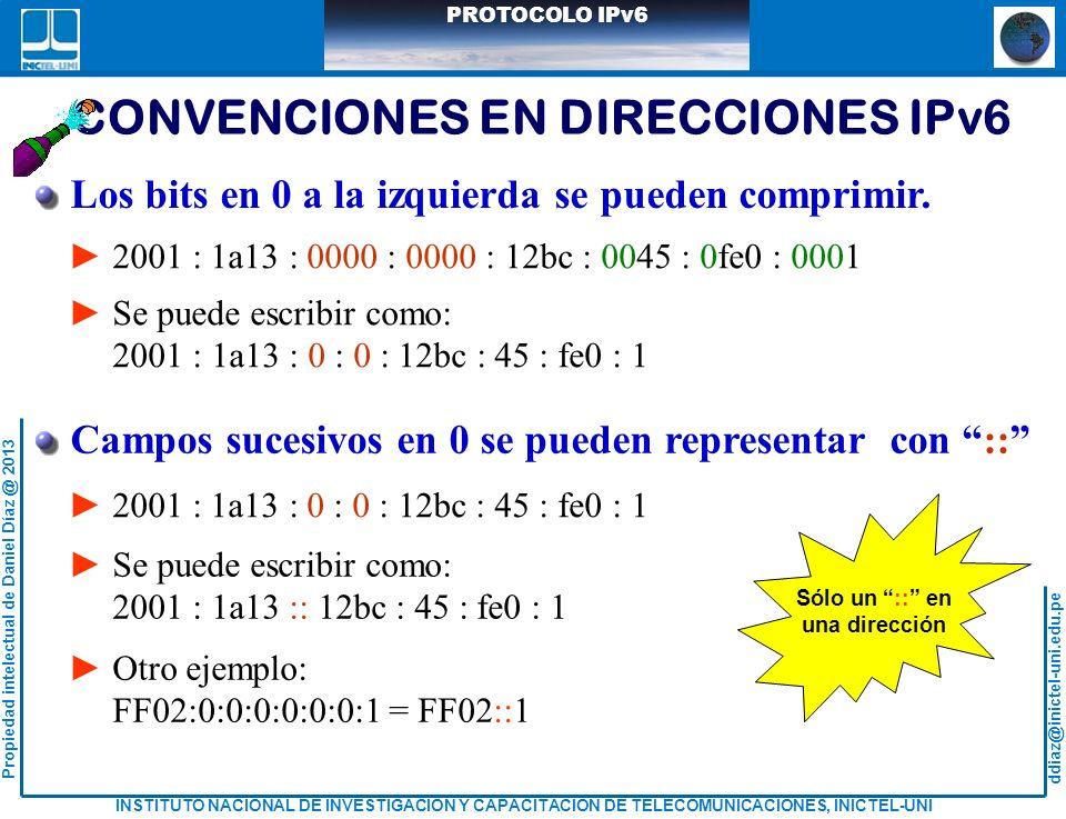 CONVENCIONES EN DIRECCIONES IPv6