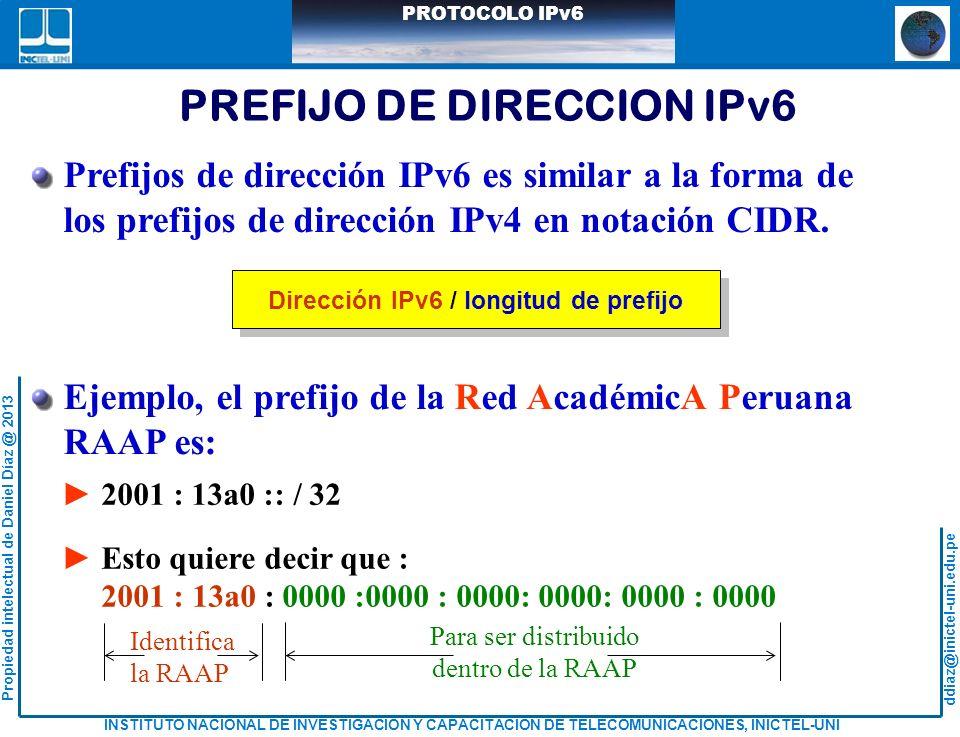 PREFIJO DE DIRECCION IPv6 Dirección IPv6 / longitud de prefijo