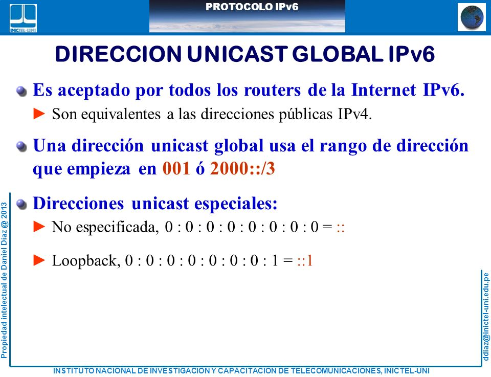 DIRECCION UNICAST GLOBAL IPv6