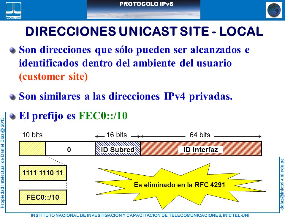 DIRECCIONES UNICAST SITE - LOCAL