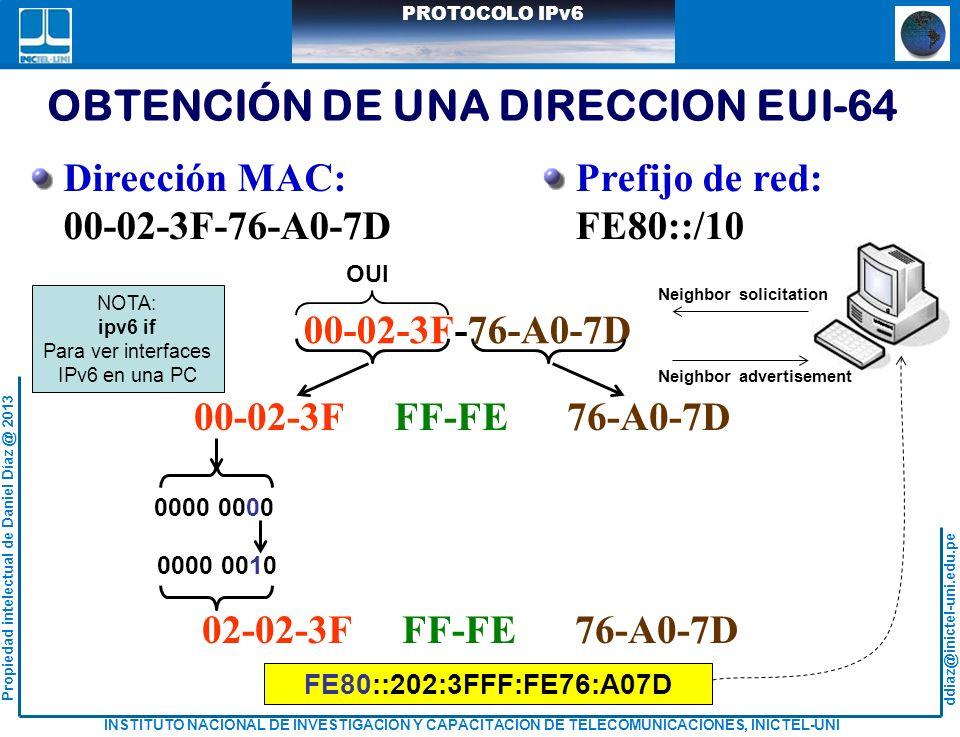 OBTENCIÓN DE UNA DIRECCION EUI-64