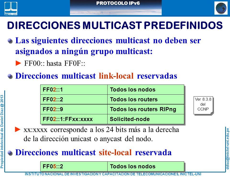 DIRECCIONES MULTICAST PREDEFINIDOS